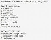 Centrum frezarskie pionowe CNC DECKEL MAHO DMU 60P HI-DYN 5 axis 2001-Zdjęcie 5