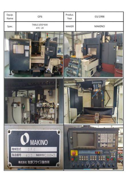 CNC 수직형 머시닝 센터 MAKINO GF-6A 1998